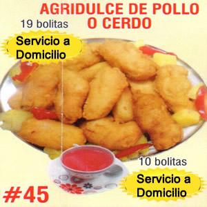 Agridulce de Pollo o Cerdo Numero 45