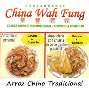 Arroz chino mas Arroz con Chuleta